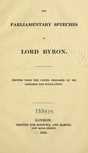 Cover of: The parliamentary speeches of Lord Byron. | Lord Byron