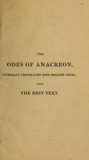 Cover of: The odes of Anacreon ...