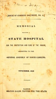 Cover of: Memorial soliciting a state hospital for the protection and cure of the insane