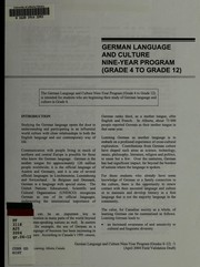 Cover of: German language and culture nine-year program (grade 4 to grade 12) | Alberta. Alberta Learning