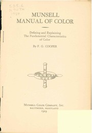 Cover of: Munsell manual of color | F. G. Cooper