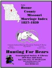 Cover of: Boone Co Missouri Marriage 1827-1839