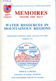 Cover of: Water resources in mountainous regions