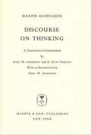 Cover of: Discourse on thinking. | Martin Heidegger