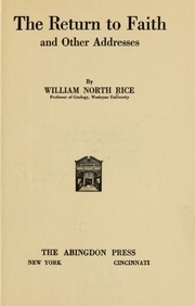 Cover of: The return to faith | William North Rice