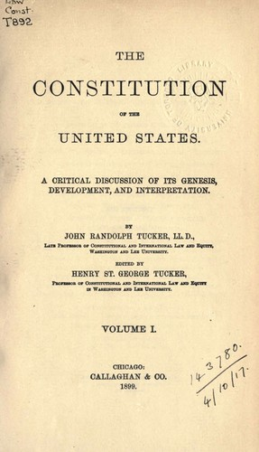 The Constitution of the United States – Volume I