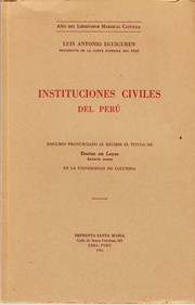 Cover of: Instituciones civiles del Perú