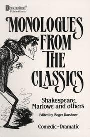 Cover of: Monologues from the Classics (Monologues from the Masters)