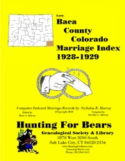 Cover of: Baca County Colorado Marriage Index 1928-1929