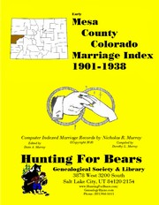 Cover of: Mesa County Colorado Marriage Index 1901-1938