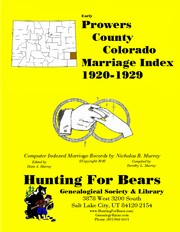 Cover of: Prowers County Colorado Marriage Index 1920-1929