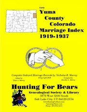 Cover of: Yuma County Colorado Marriage Index 1900-1937
