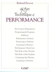 Cover of: The art & technique of performance