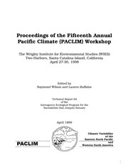 Cover of: Proceedings of the Fifteenth Annual Pacific Climate (PACLIM) Workshop | Pacific Climate Workshop (15th 1998 Wrigley Institute for Environmental Studies)