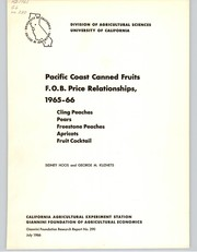 Cover of: Pacific Coast canned fruits F.O.B. price relationships, 1965-66