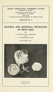 Cover of: Natural and artificial incubation of hens' eggs