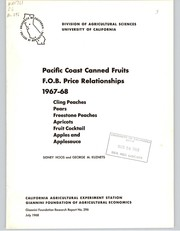 Cover of: Pacific Coast canned fruits F.O.B. price relationships, 1967-68