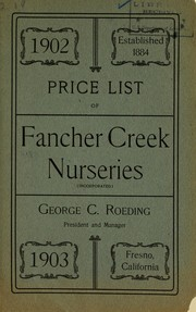 Cover of: 1902 price list of Fancher Creek Nurseries