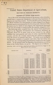 Cover of: Exports of cotton from Egypt