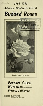Cover of: Advance wholesale list of budded roses