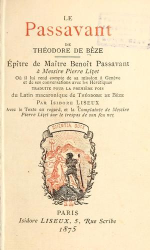 Le Passavant de Théodore de Bèze.