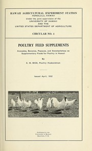 Cover of: Poultry feed supplements