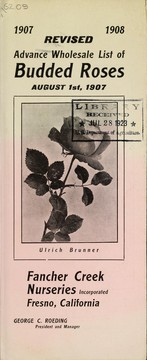 Cover of: Revised advance wholesale list of budded roses