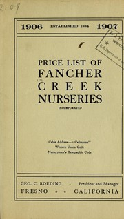Cover of: Price list of Fancher Creek Nurseries