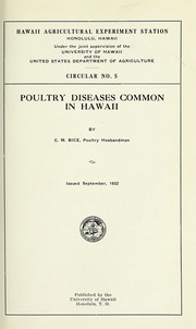 Cover of: Poultry diseases common in Hawaii