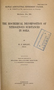 Cover of: The biochemical decomposition of nitrogenous substances in soils