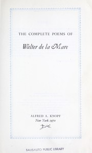 Cover of: The complete poems of Walter De La Mare