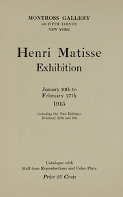 Cover of: Henri Matisse exhibition | Montross Gallery