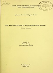 Cover of: War and agriculture in the United States, 1914-1941