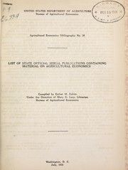 Cover of: List of state official serial publications containing material on agricultural economics