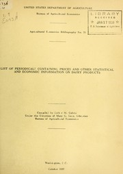 Cover of: List of periodicals containing prices and other statistical and economic information on diary products
