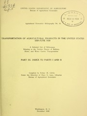Cover of: Transportation of agricultural products in the United States, 1920-June 1939