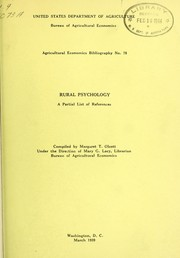 Cover of: Rural psychology | United States. Bureau of Agricultural Economics. Library
