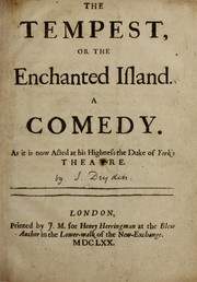 Cover of: The tempest; or, The enchanted island