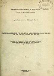 Cover of: State measures for the relief of agricultural indebtedness in the United States 1933 and 1934