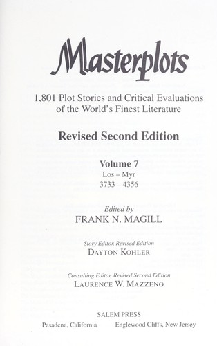 Masterplots : 1,801 plot stories and critical evaluations of the world's finest literature by