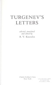 Cover of: Turgenev's letters