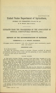 Cover of: Extracts from the Proceedings of the Association of Official Agricultural Chemists, 1911 | Association of Official Agricultural Chemists (U.S.)