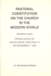 Cover of: Pastoral constitution on the Church in the modern world | Vatican Council (2nd 1962-1965)