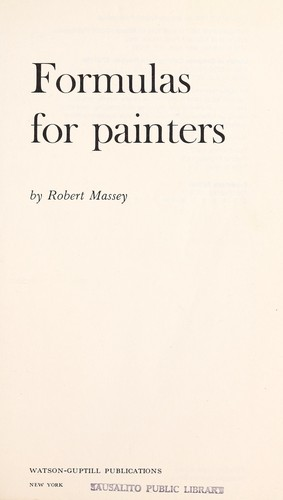 Formulas for Painters by Robert Massey