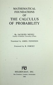 Cover of: Mathematical foundations of the calculus of probability