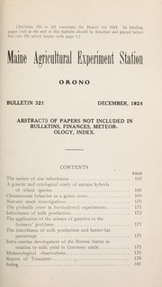 Cover of: Abstracts of papers not included in bulletins, finances, meteorology, index | Maine Agricultural Experiment Station
