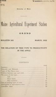 Cover of: The relation of tree type to productivity in the apple | Karl Sax