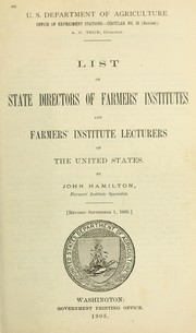 Cover of: List of state directors of Farmers' Institutes and Farmers' Institute Lecturers of the United States