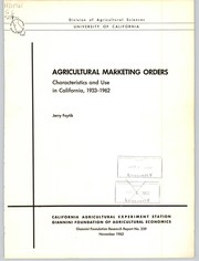 Cover of: Agricultural marketing orders | Jerry Foytik