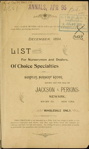 Cover of: List for nurserymen and dealers of choice specialties and surplus nursery stock grown and for sale by